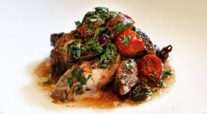 Grilled Quail in Spinach and Cherry Tomatoes