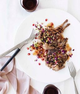 Char-grilled quail with rose and pomegranate